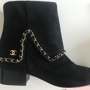 CHANEL Black Suede Chain Ankle Booties Size